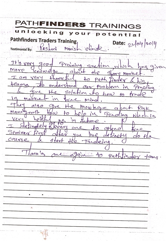 Testimonial By Mr. Rashmi Shinde – Student Pathfinders Traders Training April14 Thane Batch