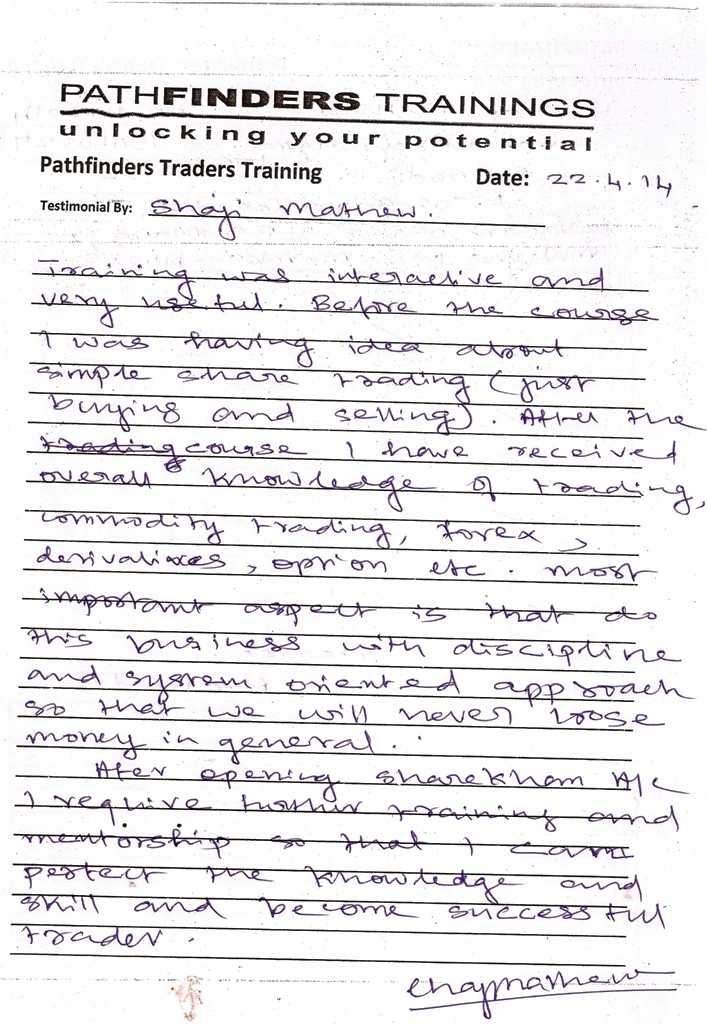 Testimonial By Mr. Shaji Mathew – Student Pathfinders Traders Training April14 Thane Batch
