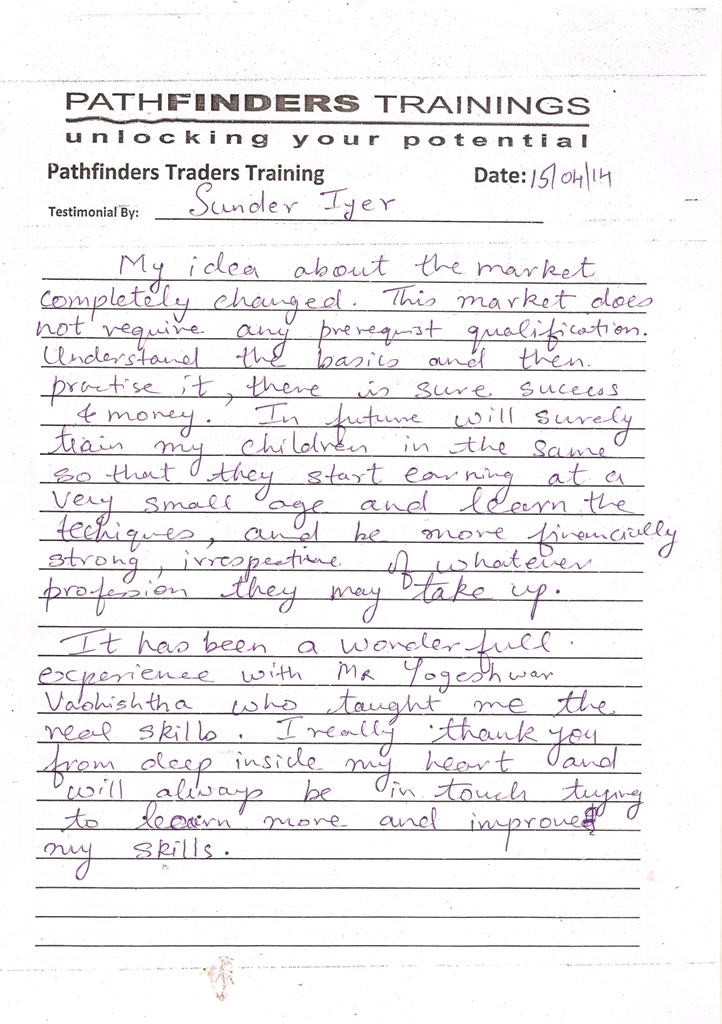 Testimonial By Mr. Sunder Iyer – Student Pathfinders Traders Training April14 Andheri Batch