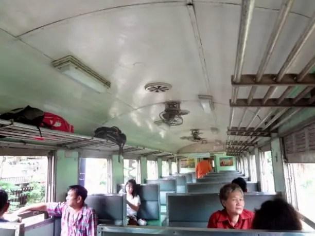Inside the train car.