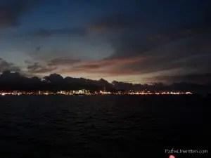 Arriving in Penang at night.