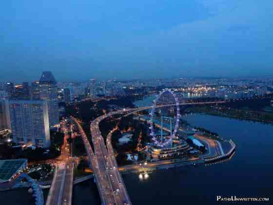 The Singapore Flyer and the southeastern coast.