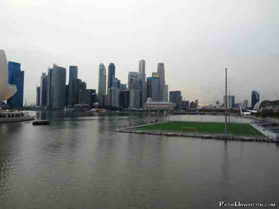 The Esplanade's floating football field over Marina Bay.