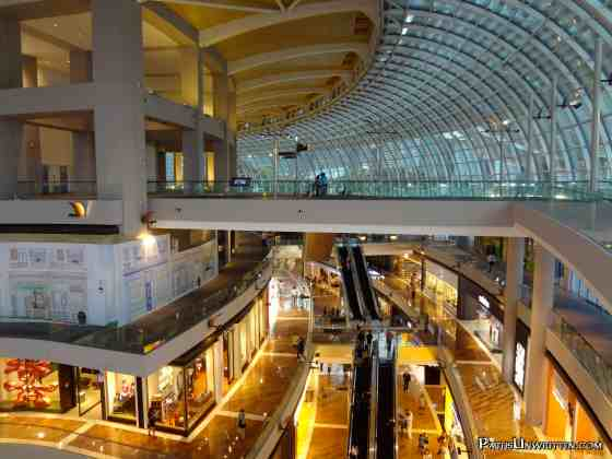 Interior of the Marina Bay Shopping Center.