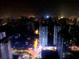 Jiangbei looking east at night.