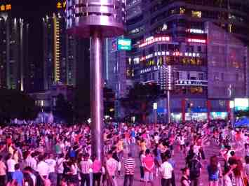 One of the massive dancing-exercise groups in Guanyinqiao, Chongqing.
