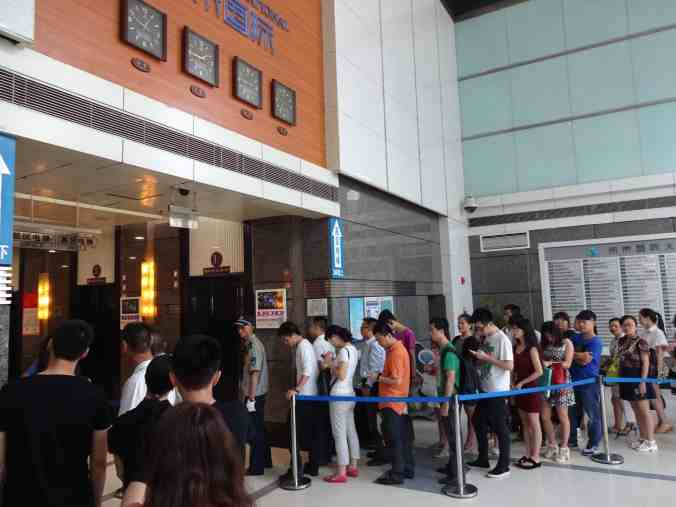 The morning line for the elevators at my job in Chongqing.