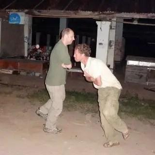 Craig's idea of one-limbed hopping battles. Actually quite fun.