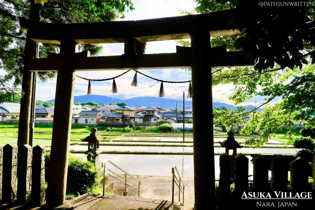 The picturesque rural village of Asuka from a hilltop Shinto shrine.