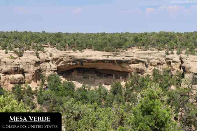 The city of Cliff Palace, shelters by one of Mesa Verde's signature rocky overhangs.