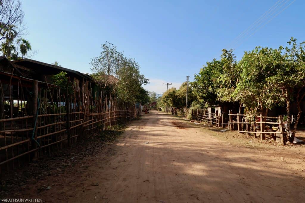 The main road through Ban Tomo. A walk from the dock to Vat Tomo takes 5 minutes.