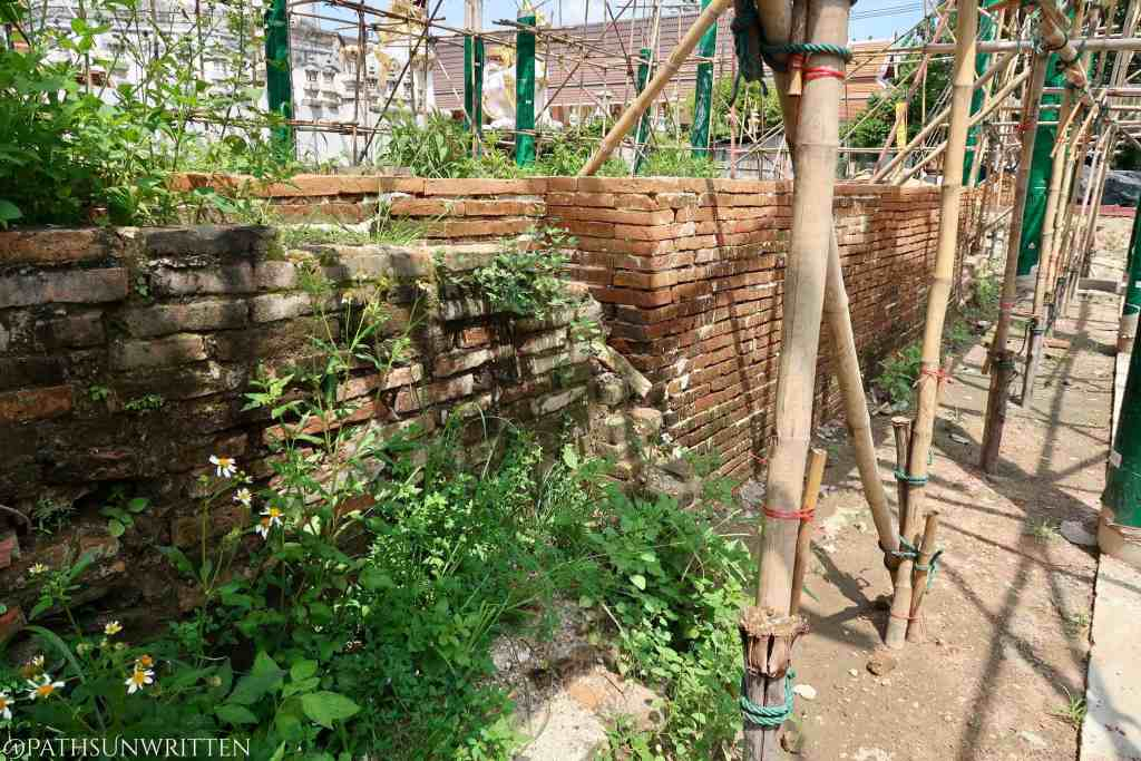The excavated ancient bricks have been overlaid with new bricks during renovation.