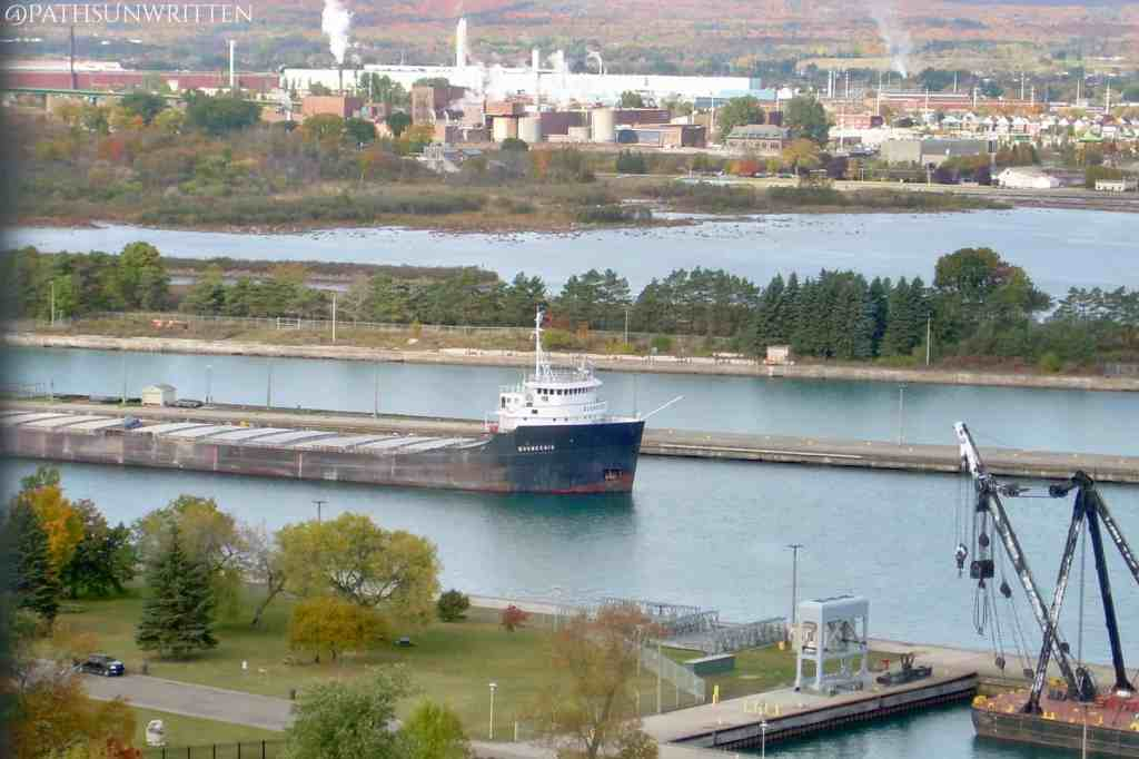 A 'laker' freighter passing through the Soo Locks.