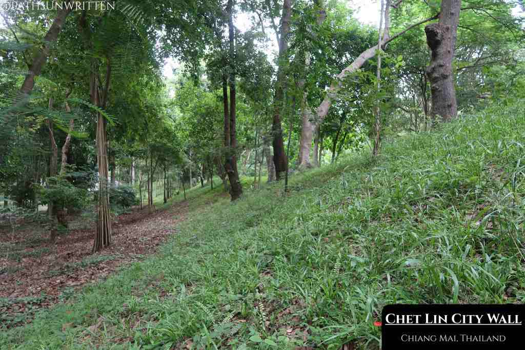 The Wiang Chet Lin city wall running along the edge of Huay Kaew Arboretum.