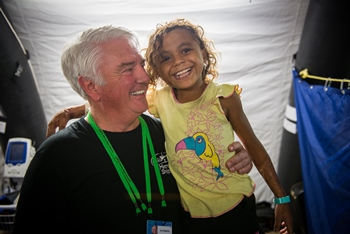 © 2016 Mercy Ships, Photo Credit Ruben Plomp; Don Stephens (USA) Founder and President of Mercy Ships. Visiting the Africa Mercy in Madagascar.