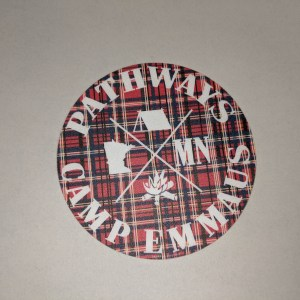 Pathways Camp Emmaus round sticker, plaid