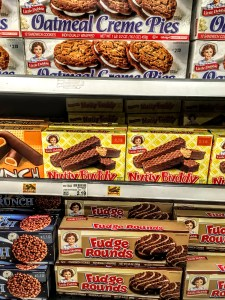 Boxes of Nutty Buddies on a shelf