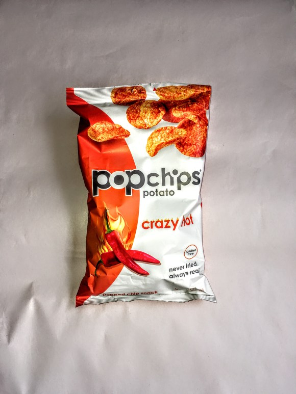 Bag of Crazy Hot Popchips, front view