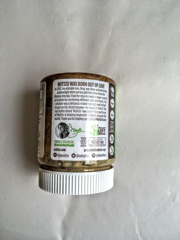 Jar of nuttzo keto butter, rear view
