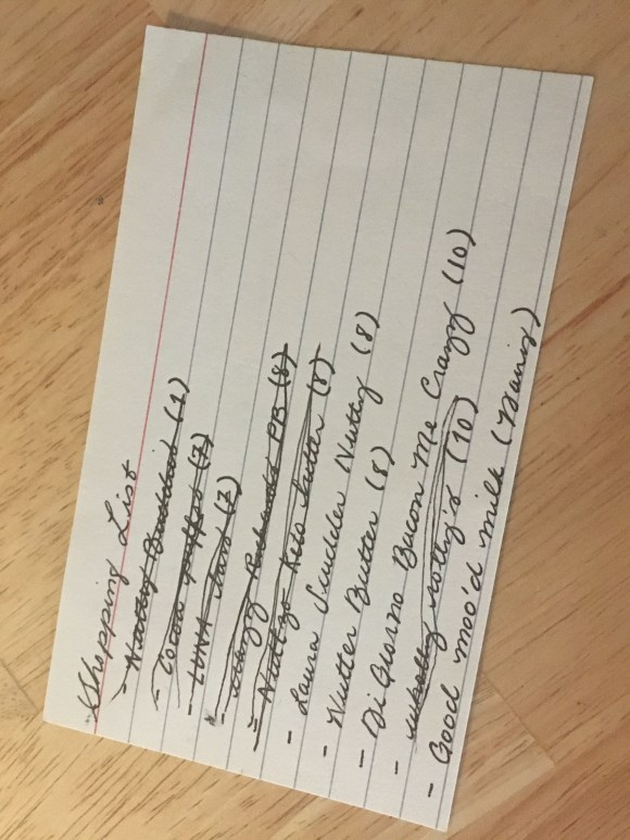 Handwritten shopping note for mad maps project, front view