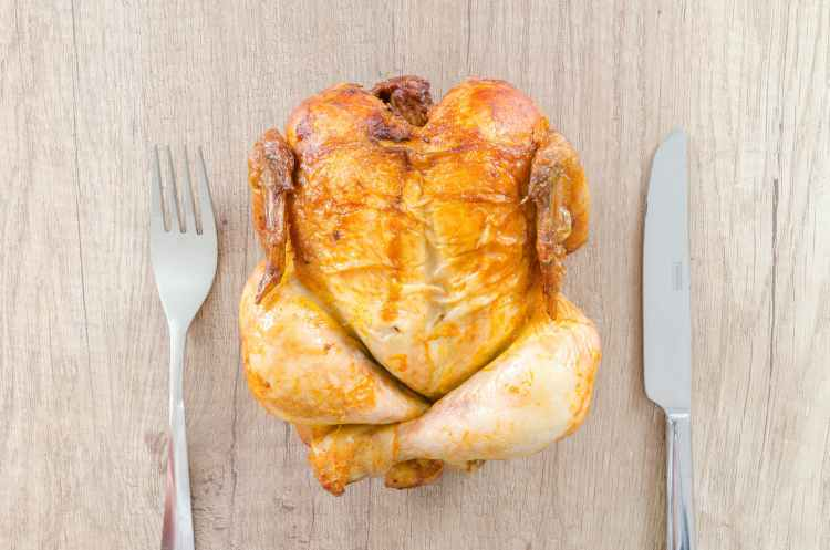 chicken cooked cuisine cutlery