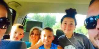 Candace's family in a car