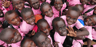 Children smiling in the Sudan