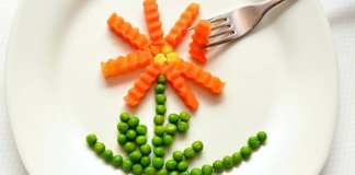 a flower made out of carrots, peas, and corn. gastroparesis