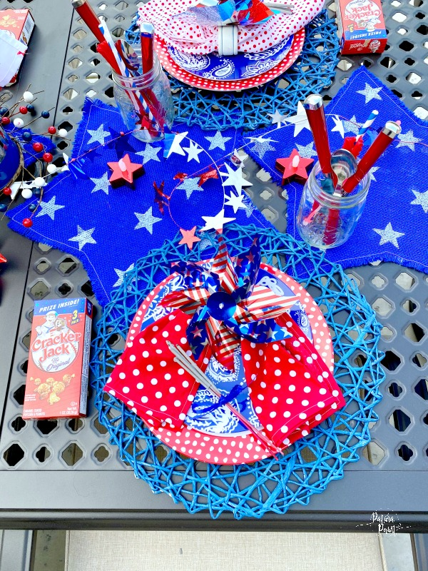 red, white and blue placesetting