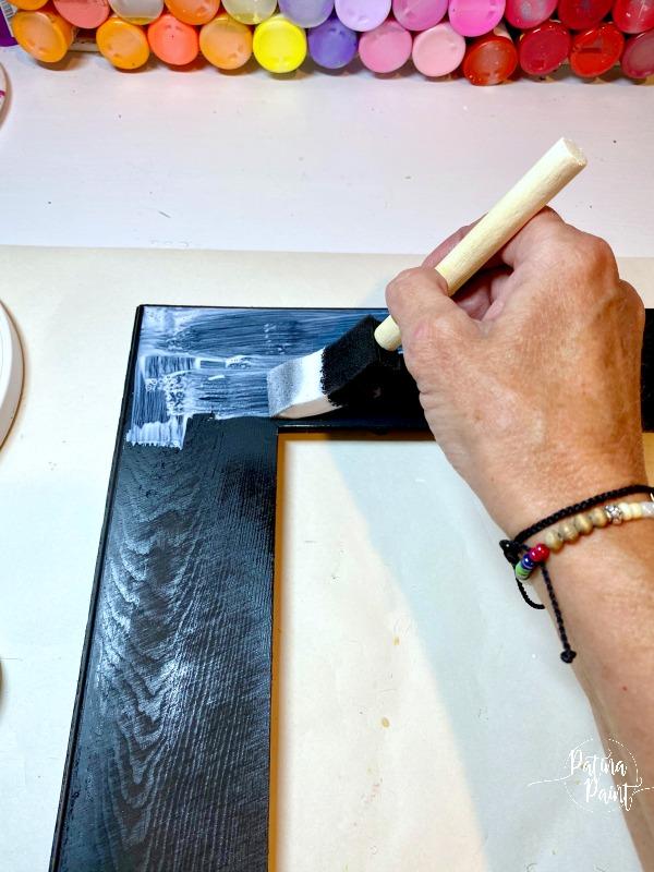 black frame, painting mod podge