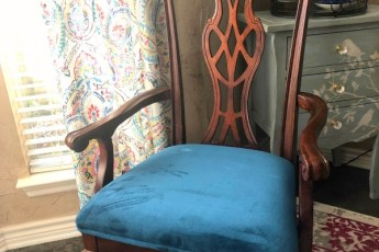 chair, curtains table, lamp