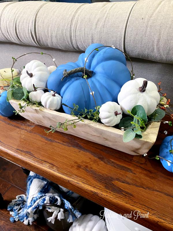 Pumpkin and dough bowl vignette