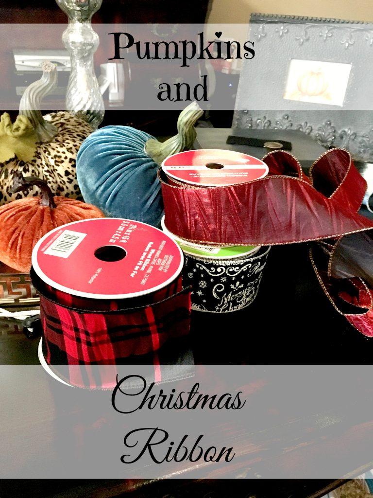 Pumpkins and Christmas Ribbon