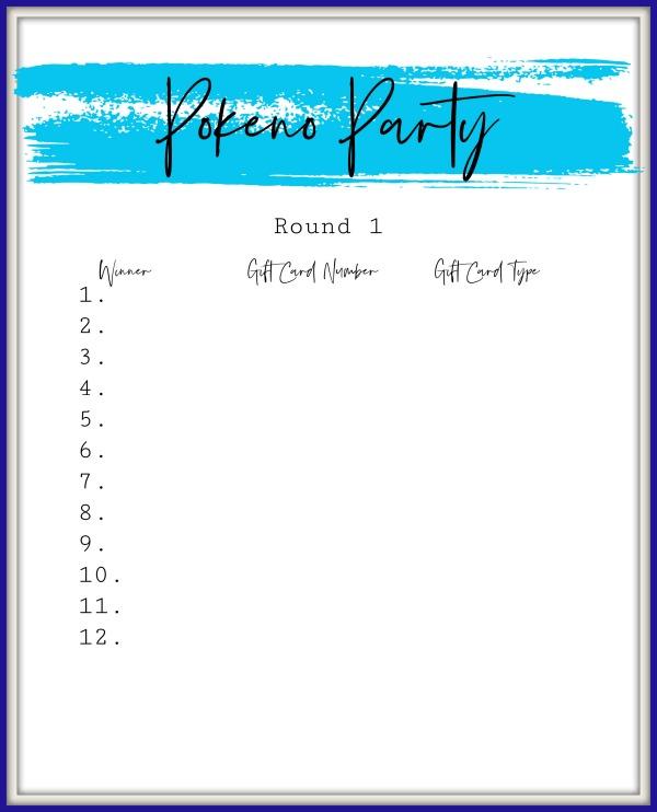 Pokeno Party round 1 sheet