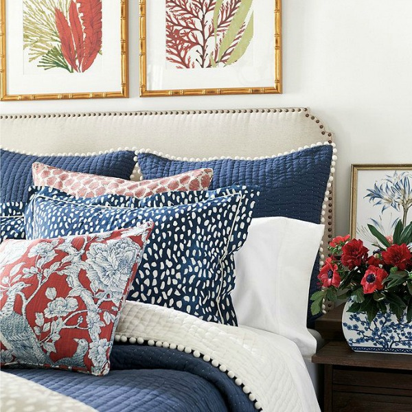 Ballards Navy pom bedding