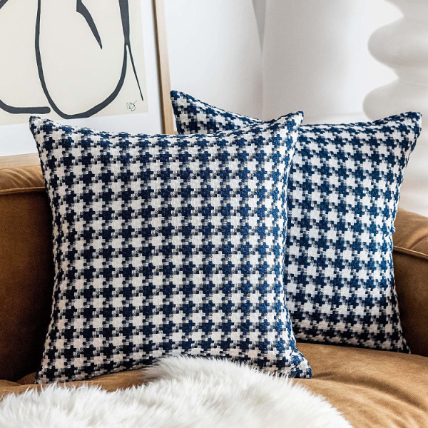 blue and white houndstooth pillow