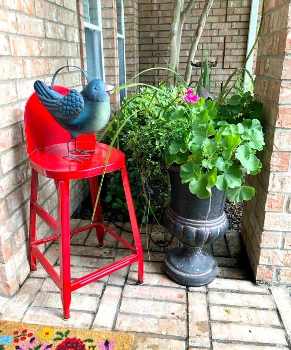 red stool, bird, plants