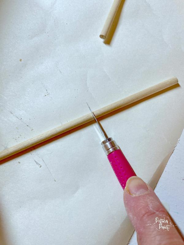 cutting a dowel rod