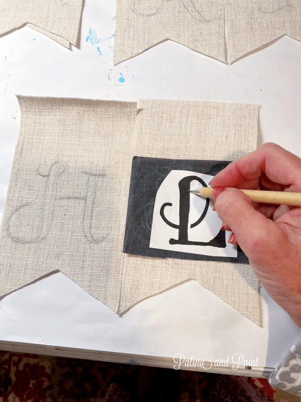 Tracing letters onto fabric