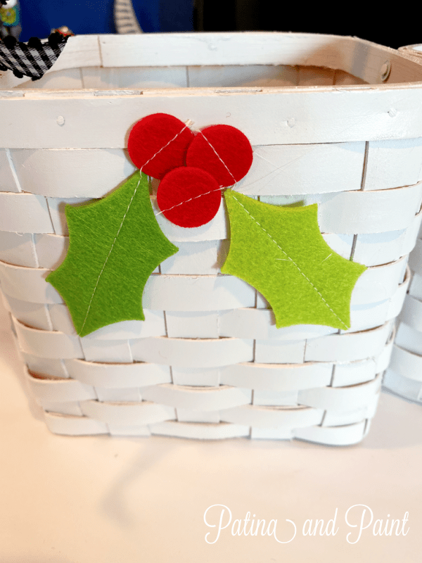 Felt holly on a gift basket