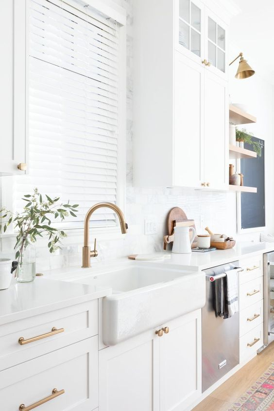 Gold and white bay kitchen
