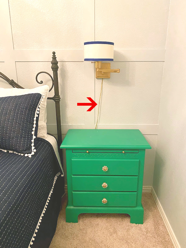 nightstand, bed, focal wall, sconces