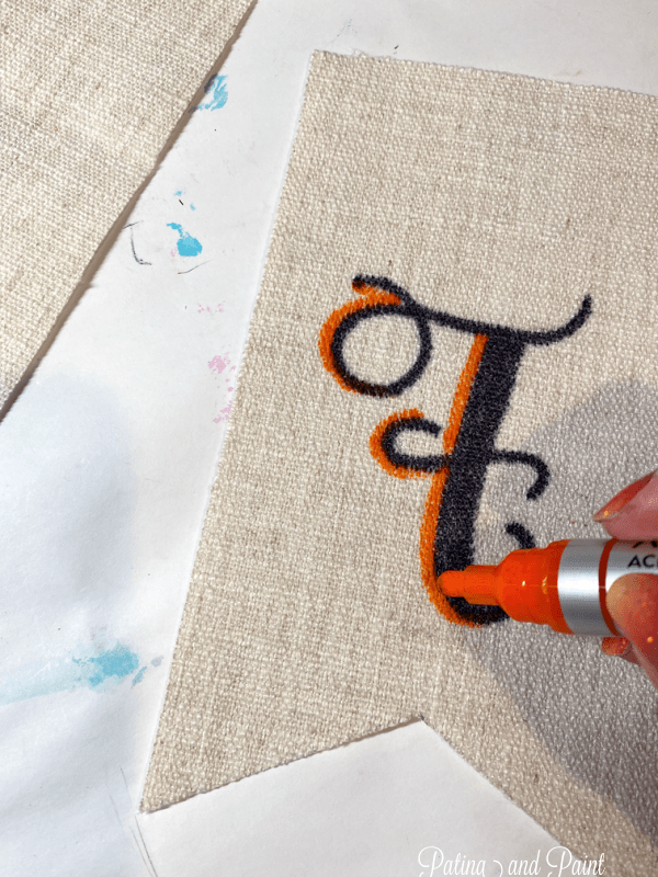 Painting letters with a paint pen