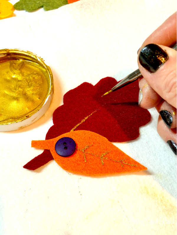 painting felt leaves