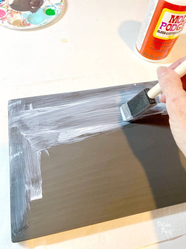 painting board with Mod Podge