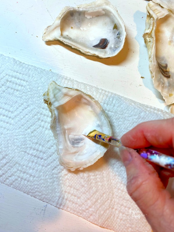 white paint, oyster shells, painting