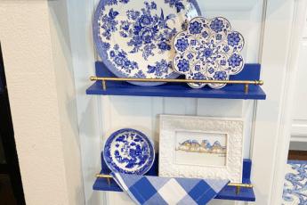 decor on blue shelving