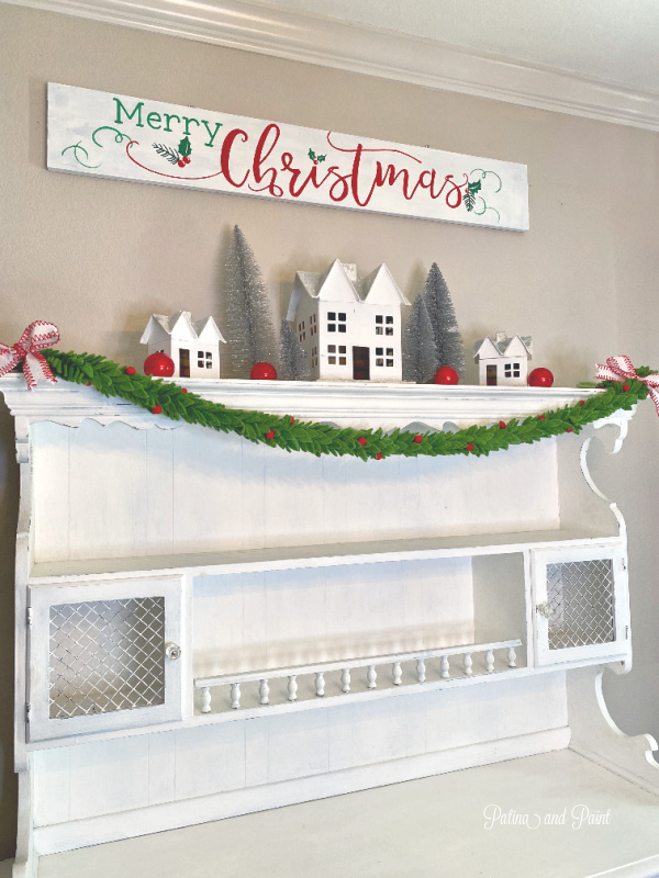White hutch Christmas decor