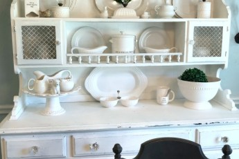 red white and blue banner, white kitchen hutch