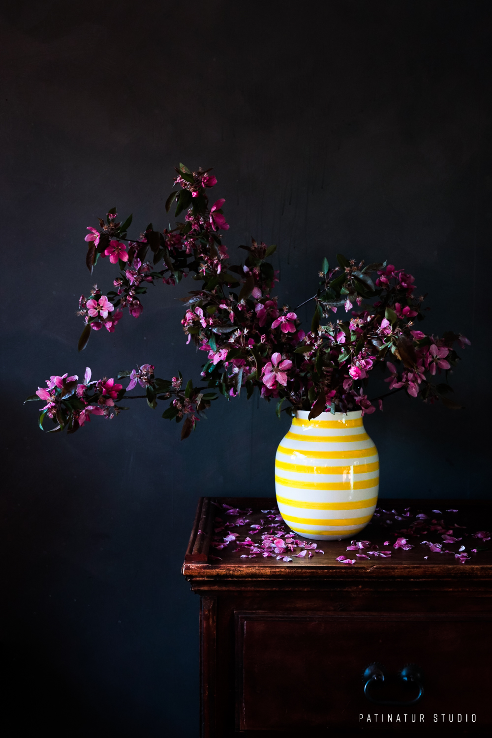 Photo art | Dark and moody still life with pink crabapple blossoms in white and yellow vase